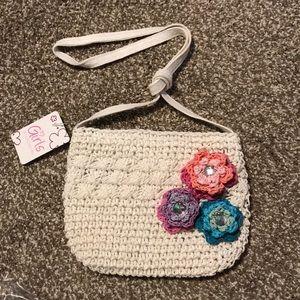 Girls accessories white crochet floral purse Nwt
